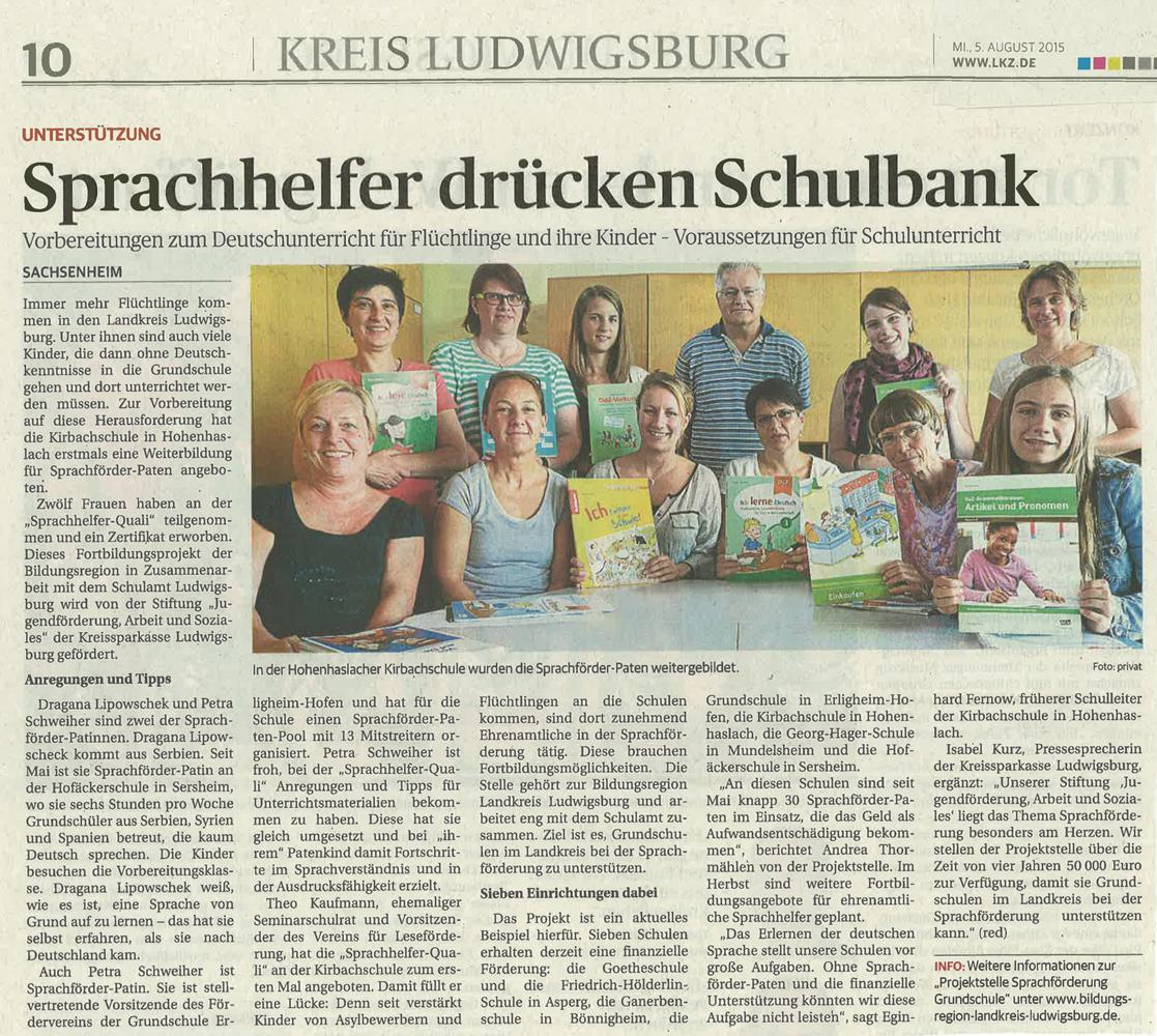 Sprachhelfer Quali Kirbachschule Zeitungsartikel